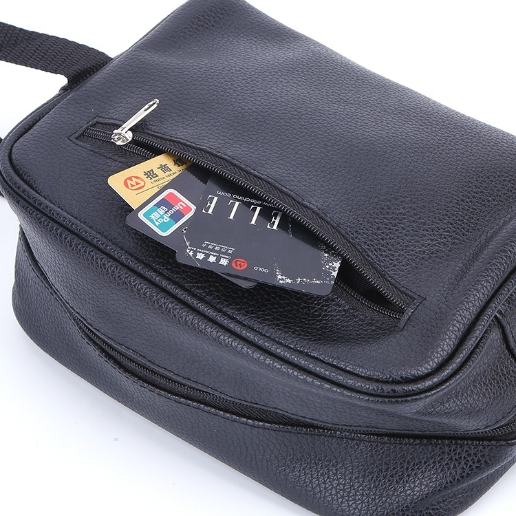 Wholesale waterproof pu leather cosmetic bag toiletry zipper bags