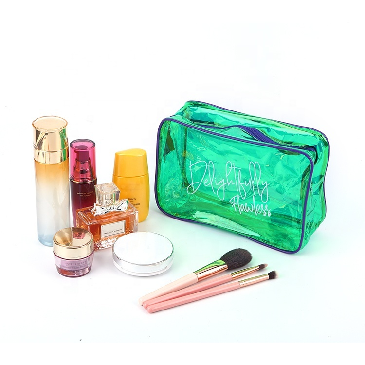 Holographic clear PVC transparent makeup pouch travel storage bag