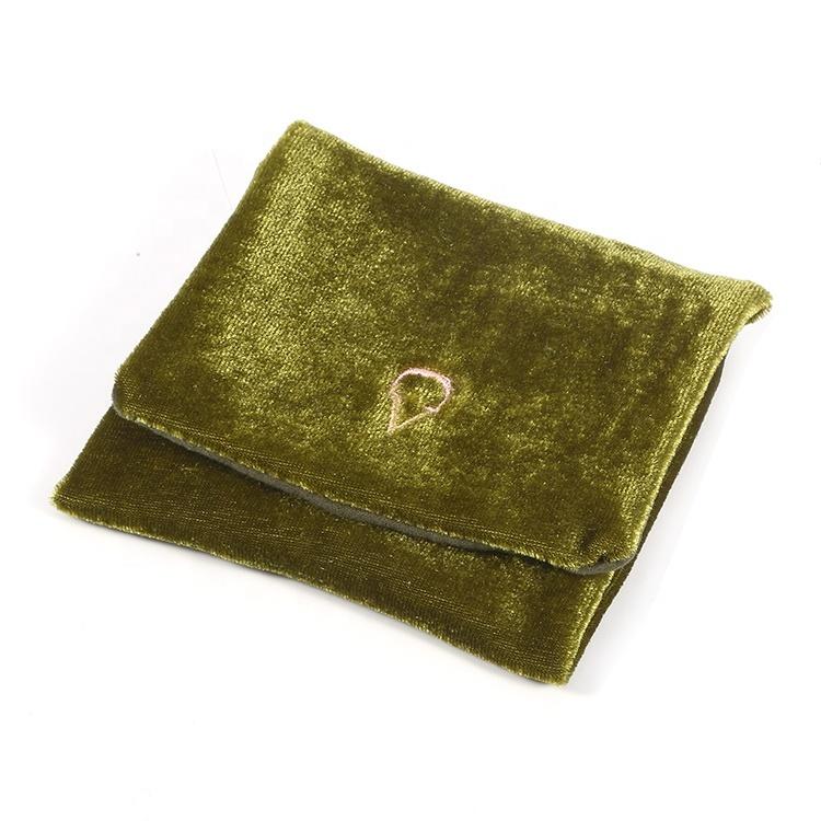 Custom small velvet flap pouch bag for jewelry