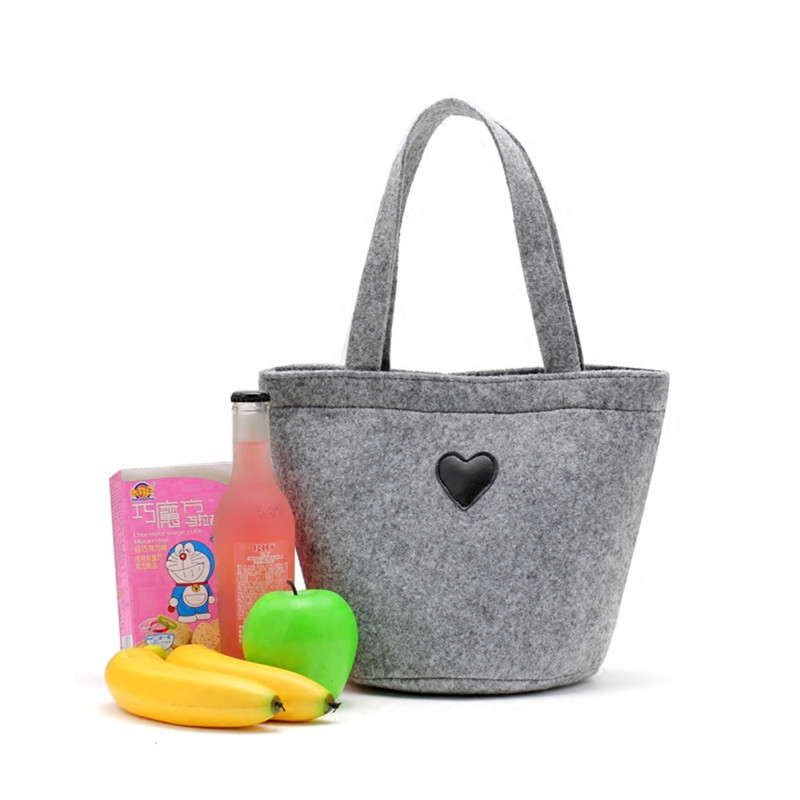 Wholesale Gray Custom Logo Cute Round Bottom Lunch Storage Shopping Felt Tote  Bag