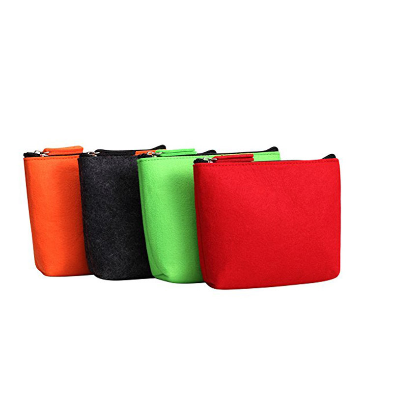Customize colorful small zipper felt pouch packing makeup power bank bag