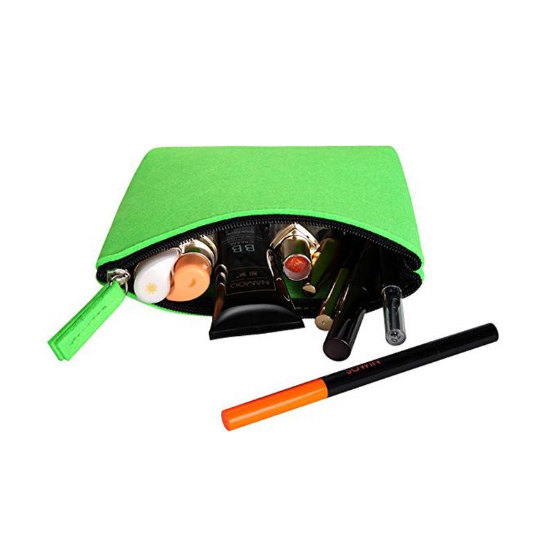 Customize colorful small zipper felt pouch packing makeup power bank bag