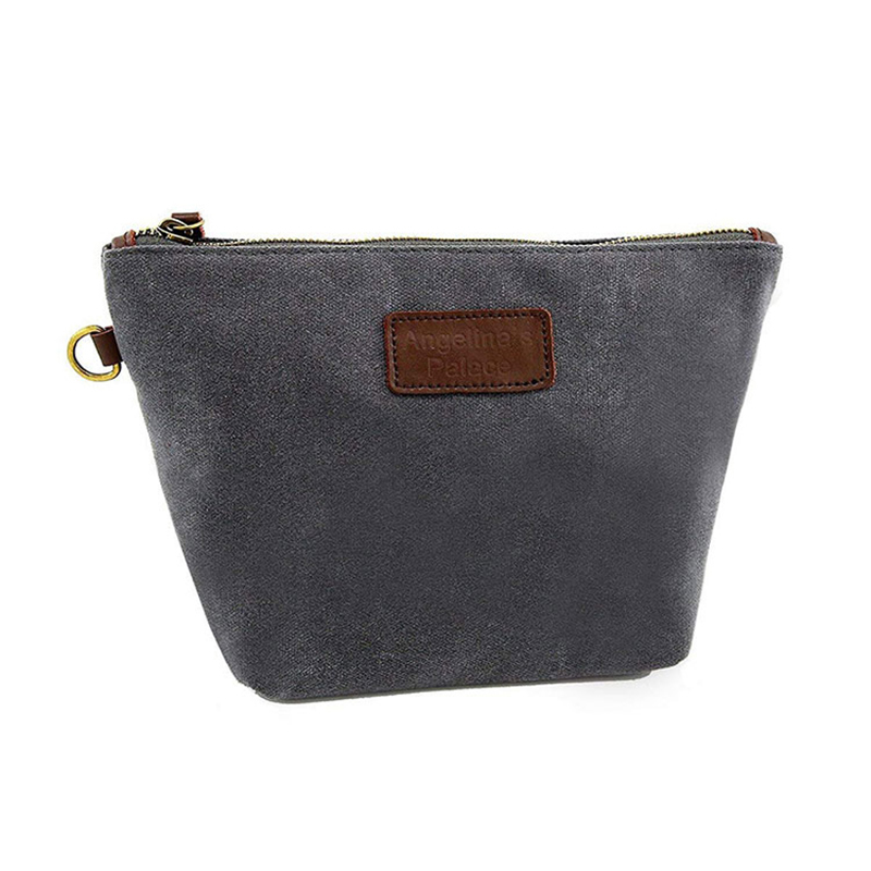 Custom Design Small Durable Waxed Canvas Tool Bag Zipper With Pu Leather Tag