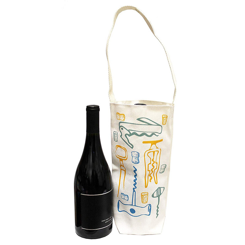 Single bottle packing canvas tote bag