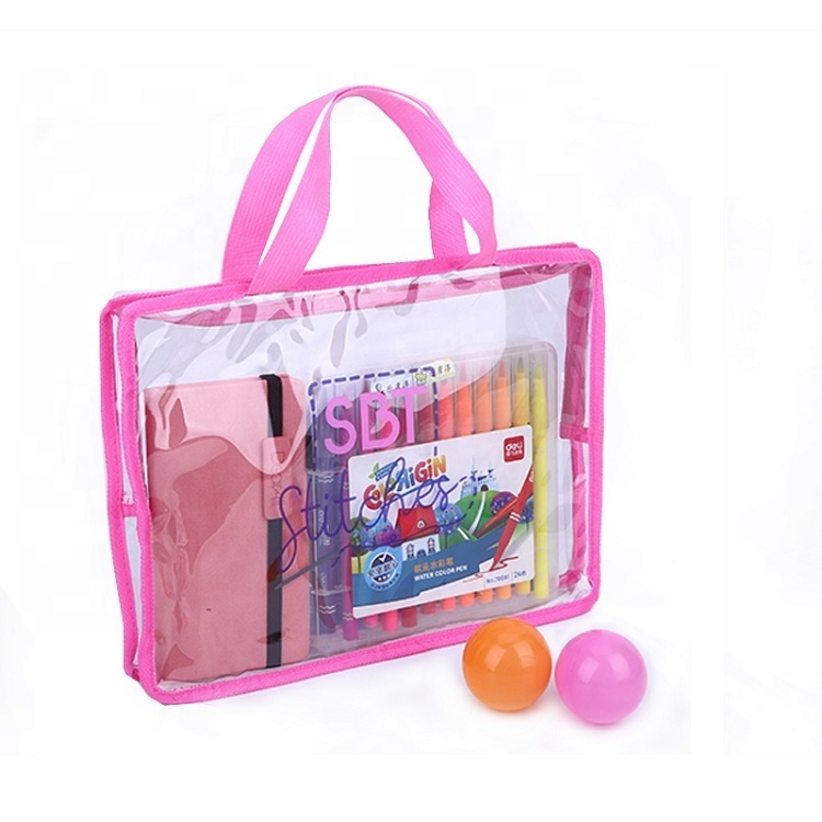 Large capacity woven belt handle clear pvc transparent tote bag