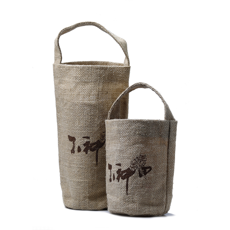 Custom Eco Bear Wine Round Mini Jute Bag Material With Small Shoulder