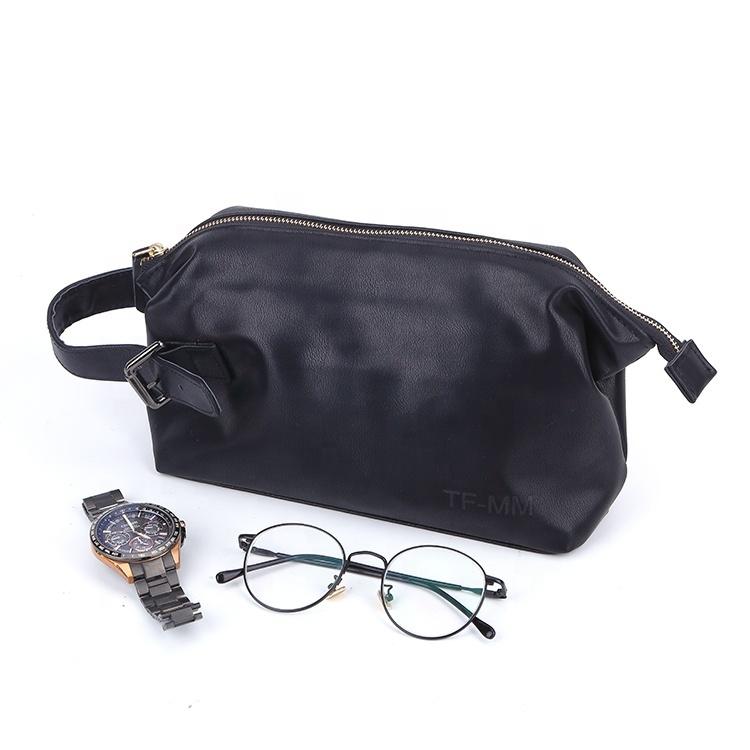 Custom logo adjustable leather handle easy to carry toiletry pu bag