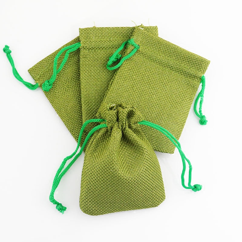 Hot sale eco friendly green jute tea seed small pouch jewelry bag