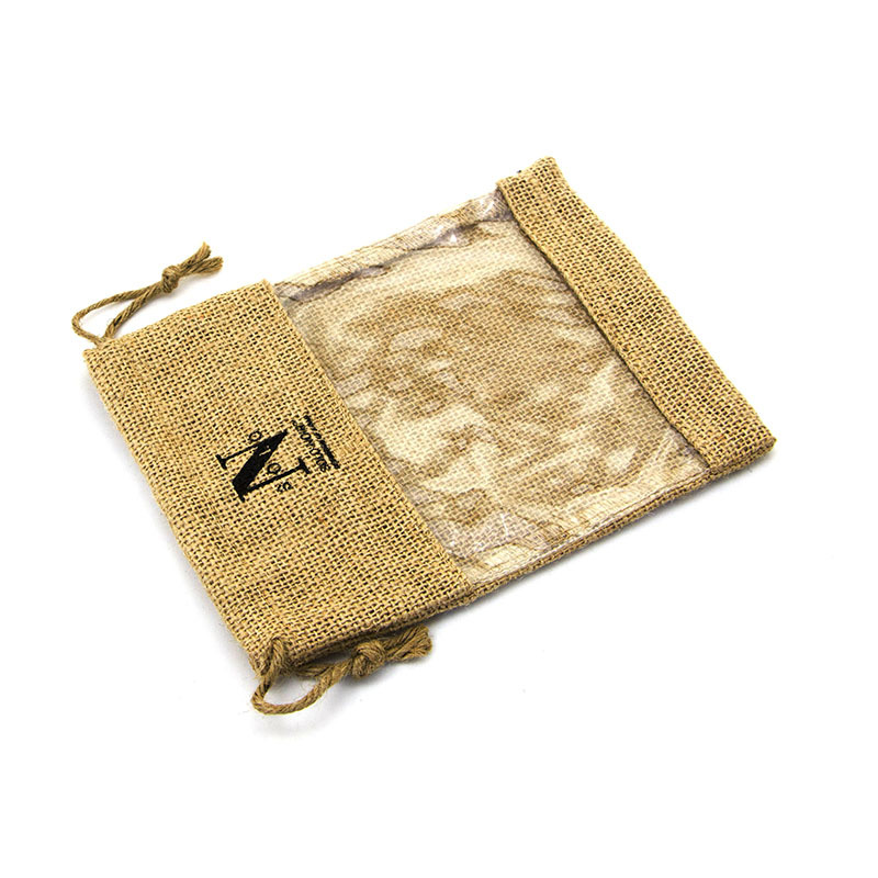 Custom natural jute drawstring bag with pvc window