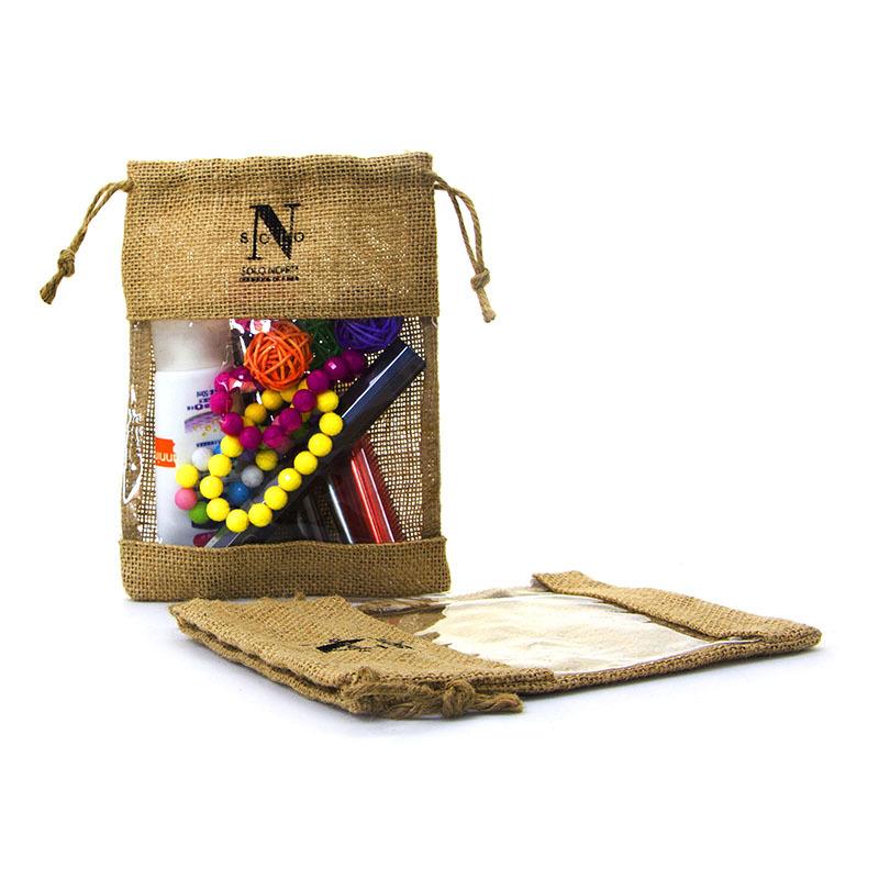 Custom natural jute drawstring bag with pvc window