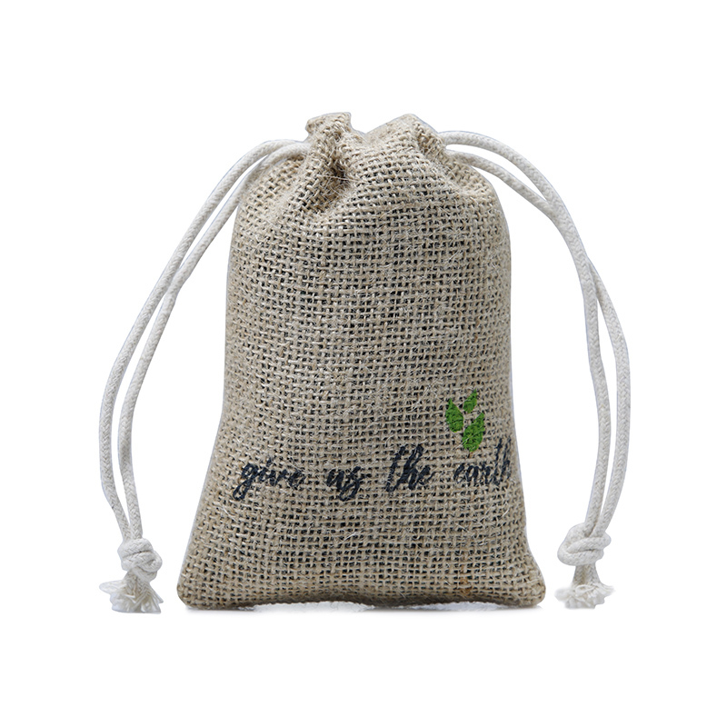 Custom Design Natural Jute Drawstring Packaging Bag