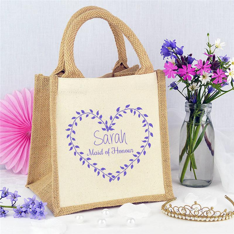 Reusable Organic Food Holder Grocery Tea Organizer Jute Tote Box Storage Bean Bag