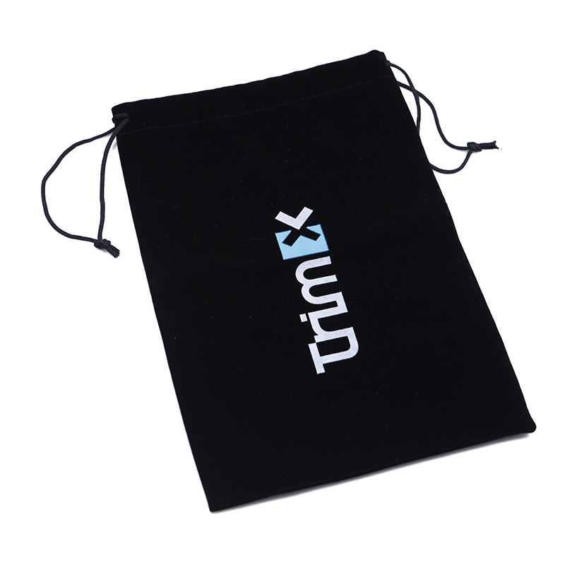 Black velvet drawstring pouch clothing dust bag