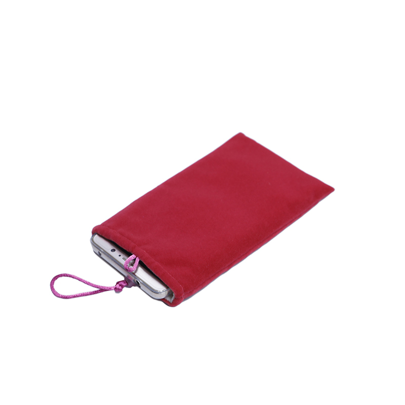 Custom pink soft material cell phone velvet pouch