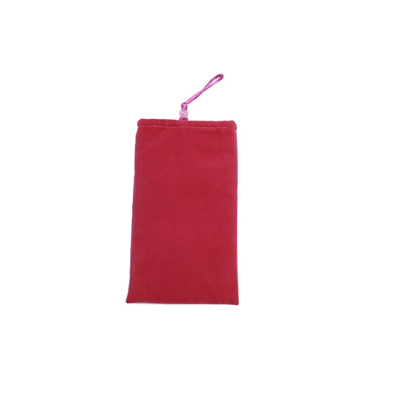 Custom pink soft material cell phone velvet pouch