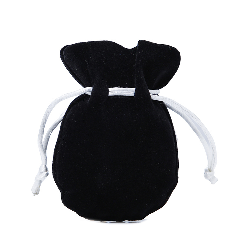 Wholesale jewelry drawstring bag black velvet pouch