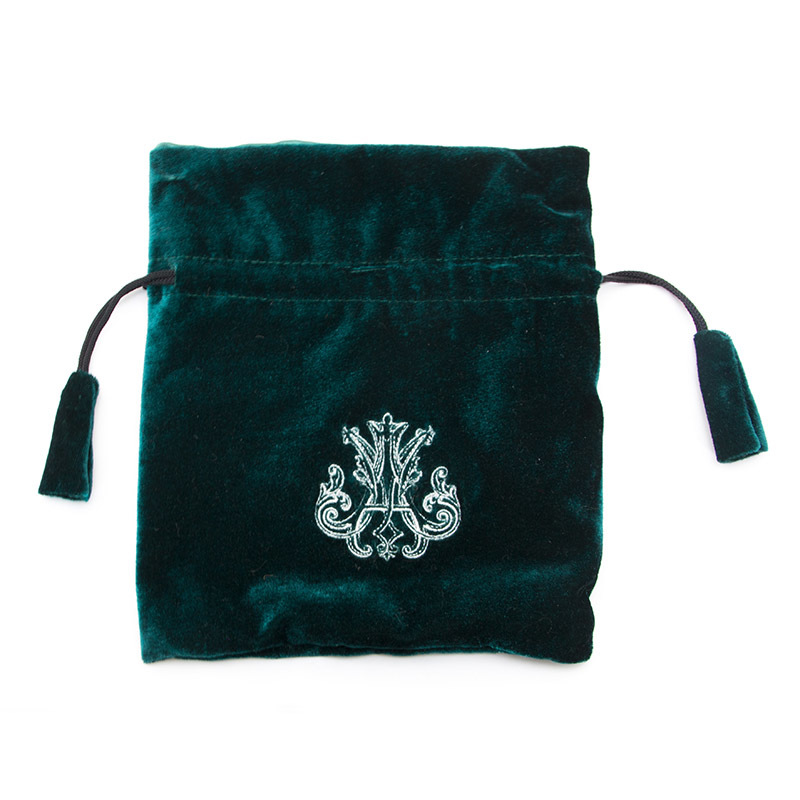 Custom eco friendly green velvet jewelry pouch small drawstring bag