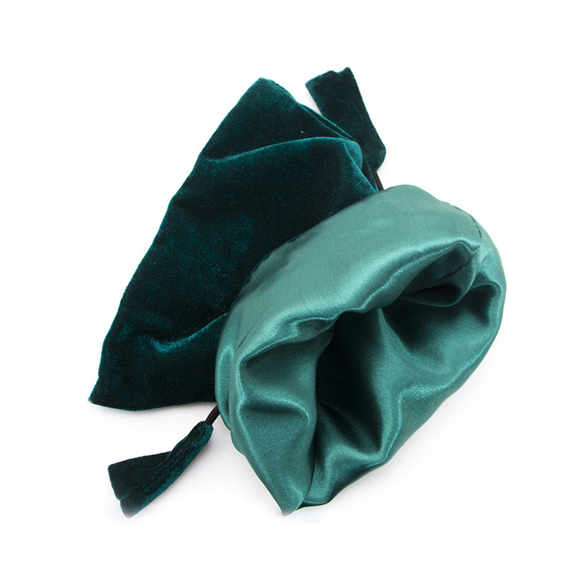 Custom eco friendly green velvet jewelry pouch small drawstring bag