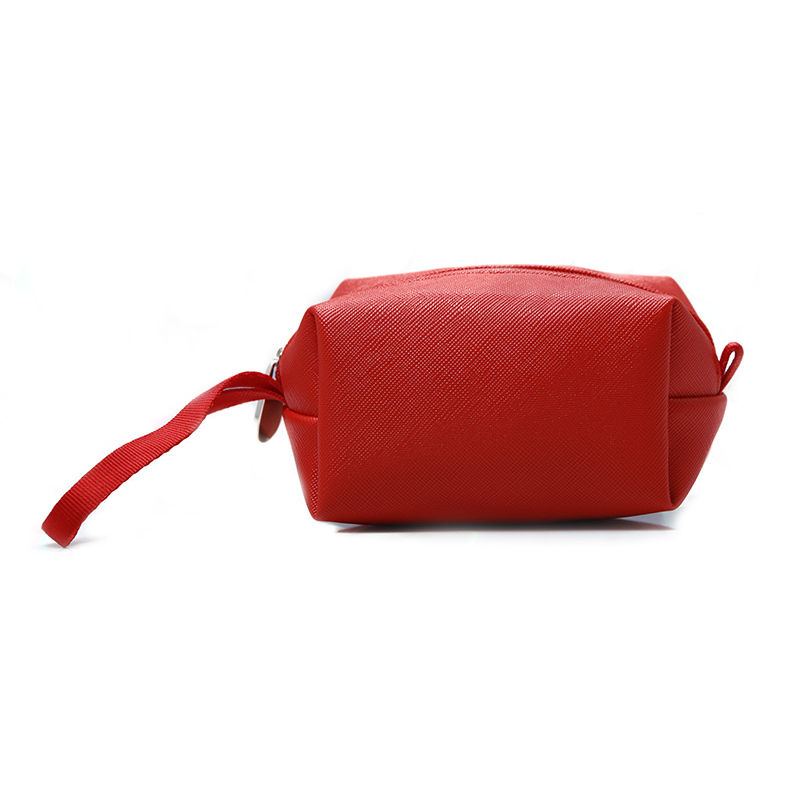 Red pu leather pouch wallet makeup zipper bag