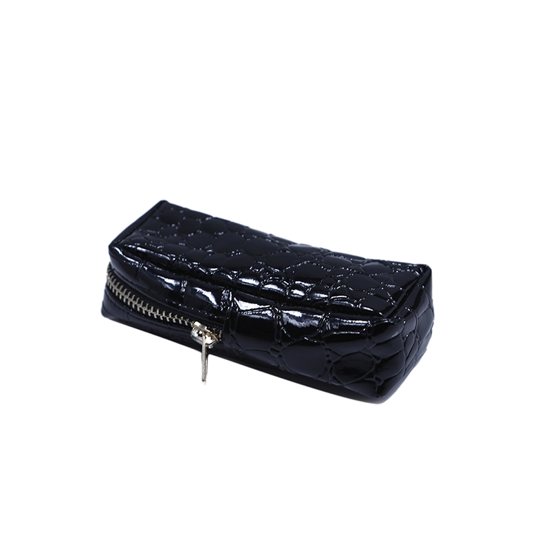 Custom black pu leather zipper pouch makeup box bag