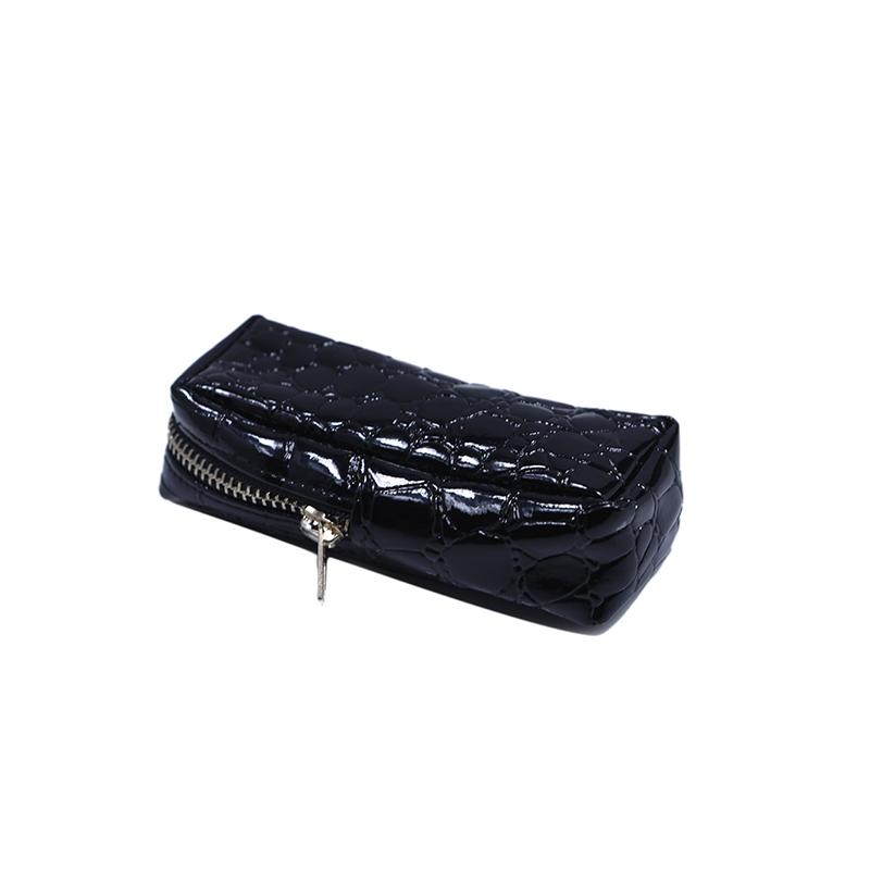 Custom black pu leather zipper pouch makeup box bag