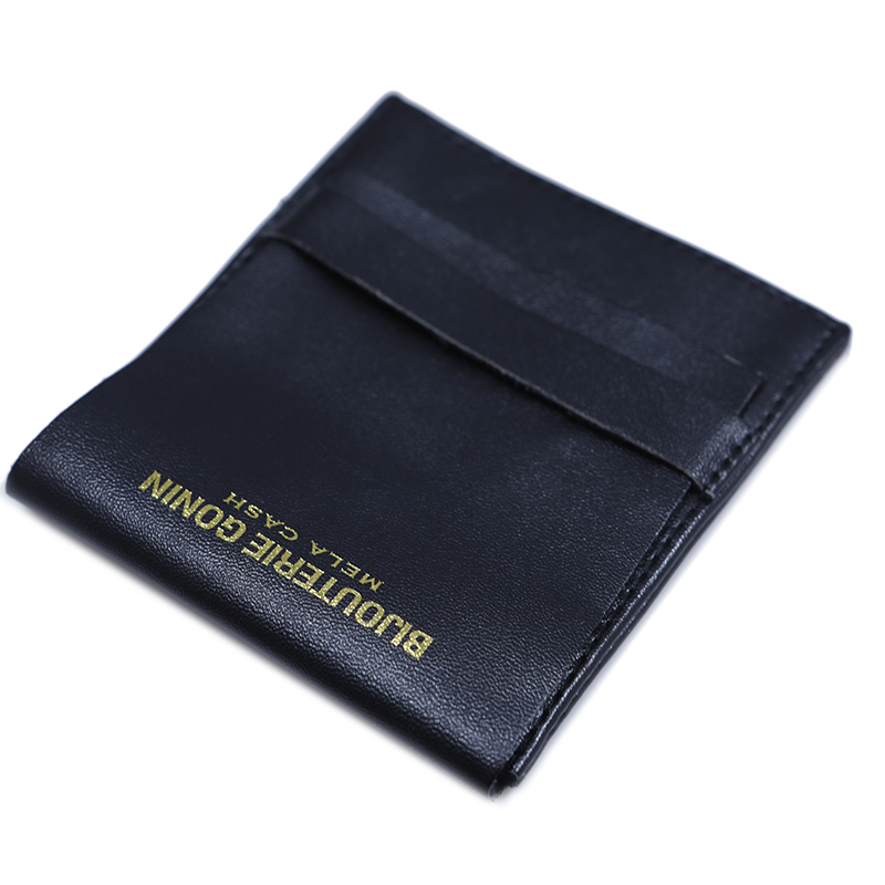 Custom flap envelope soft pu leather bag earing pouch with gold stamping logo