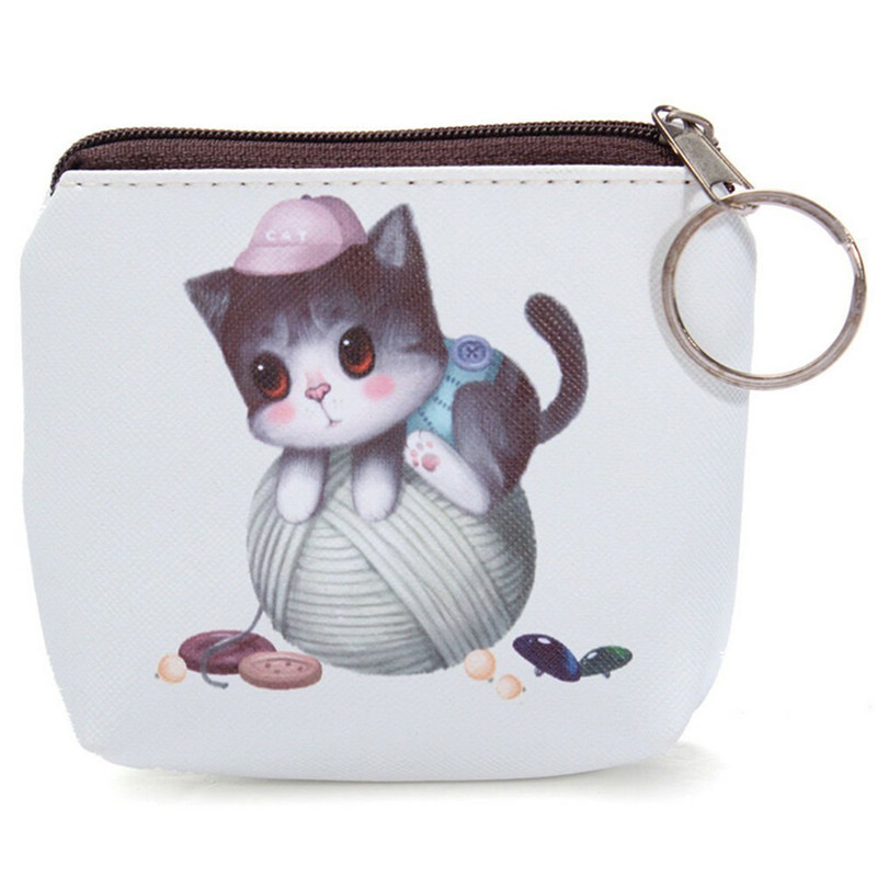 Custom digital printing zipper coin pouch small pu leather bag