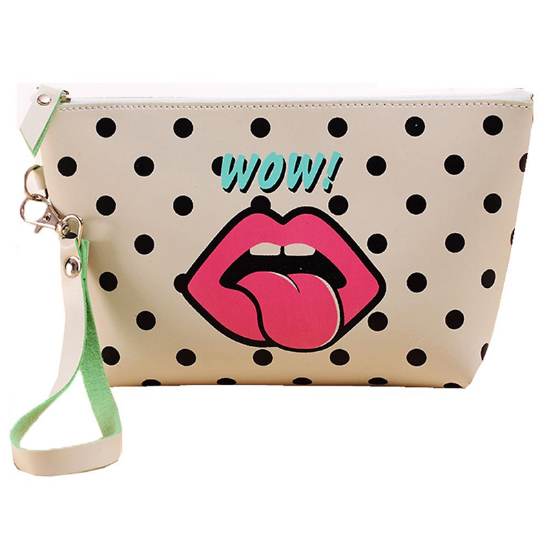 Cute dumpling shape make up bag girls pu leather bag with lip printing