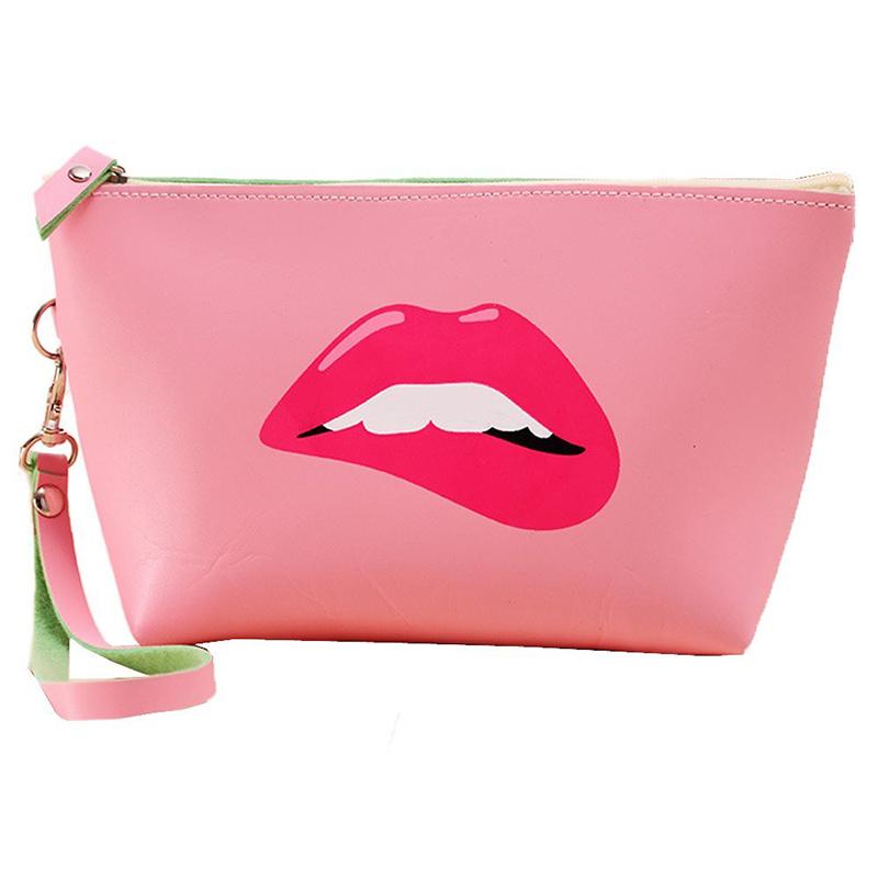 Cute dumpling shape make up bag girls pu leather bag with lip printing
