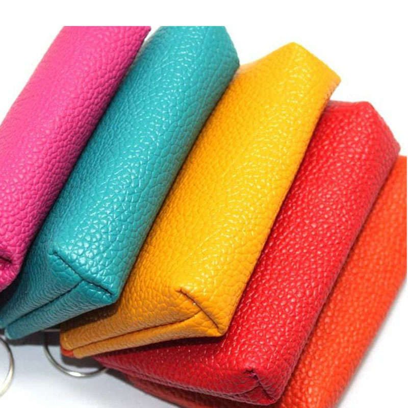 Hot sale small colorful pu leather coin pouch custom zipper bag