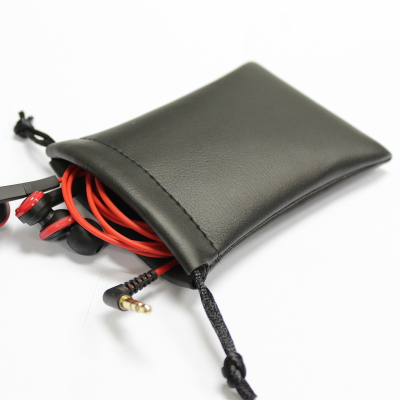 Wholesale Custom Drawstring Gift Black Pu Leather Earphone Bag Cell Phone Pouch