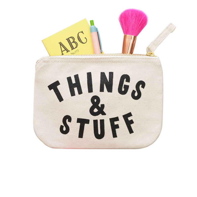 Cotton canvas pouch cosmetic brush storage zipper bag