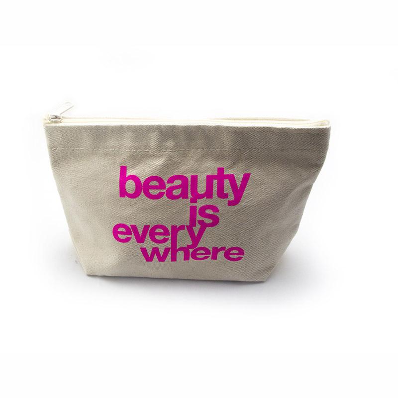 Custom canvas zipper pouch lamination canvas makeup bag with pink logo