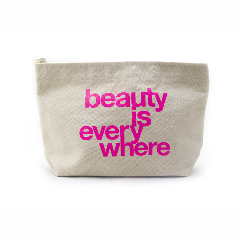 Custom canvas zipper pouch lamination canvas makeup bag with pink logo