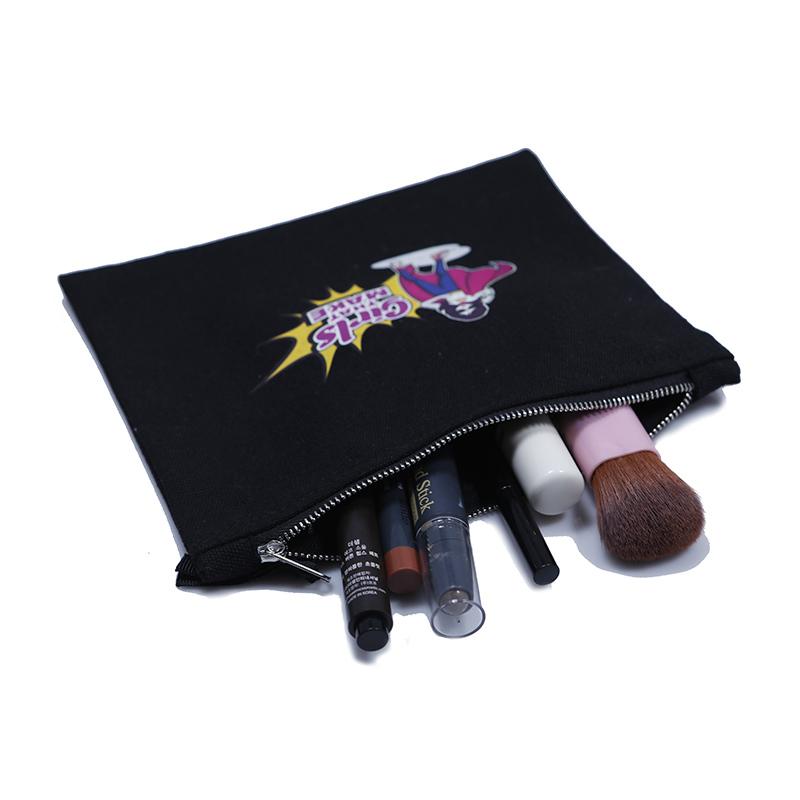Wholesale custom black recycle cotton canvas metal zipper bag makeup pouch