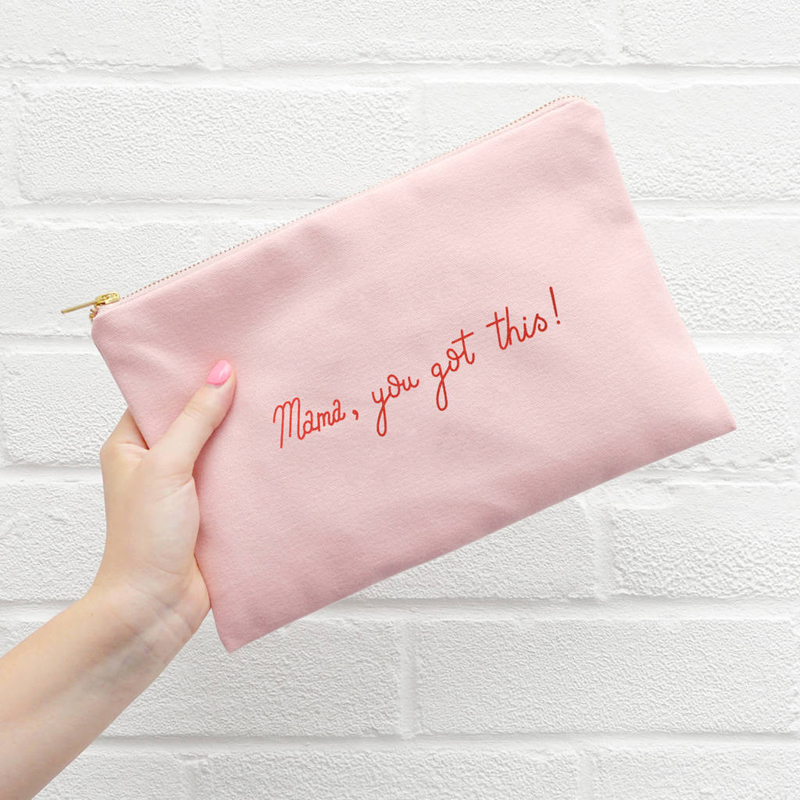 Custom girl favorite pink canvas brush cosmetic bag zipper bag