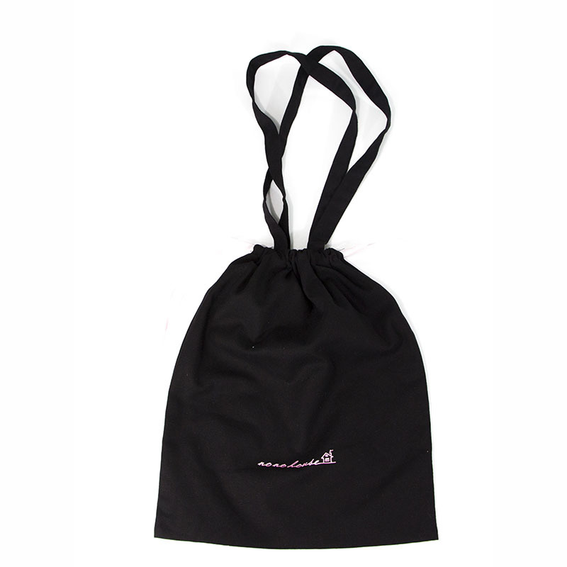 Custom cotton canvas handle shopping bag black canvas book packing bag with drawstring