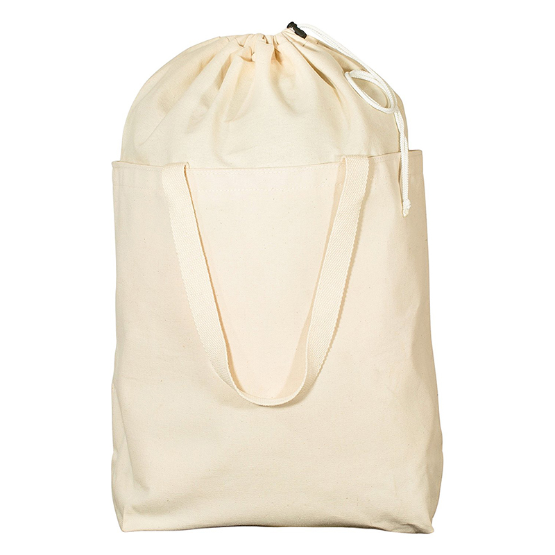 Large capacity luandry canvas drawstring bag nature recycle cotton canvas tote bag