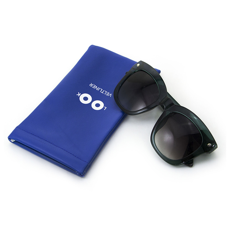 Wholesale Durable PU Leather Eyewear Pouch Sunglasses Bag with Spring