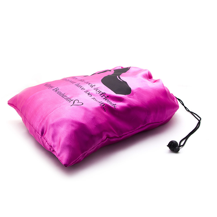 Custom logo shoe bag pink satin dust clothing drawstring bag