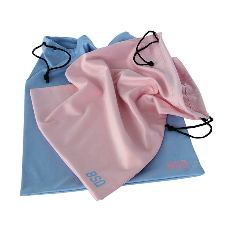 Drawstring gift jewelry pouch soft microfiber glasses bag custom logo