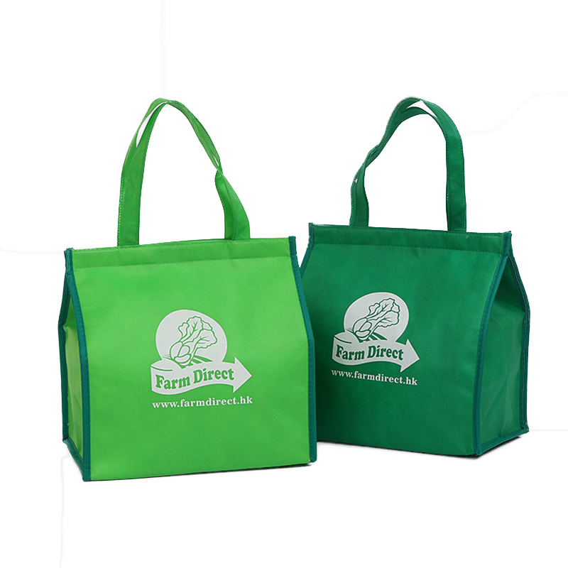 Custom big size non woven lunch bag foil keep food warm delivery bag with tote