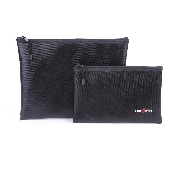 Custom black durable fireproof cloth tool bag packing document zipper bag