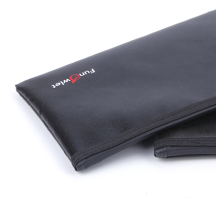 Custom black durable fireproof cloth tool bag packing document zipper bag