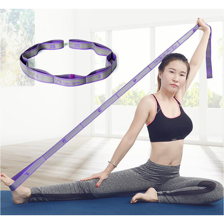 Colorful and adjustable stretch band yoga fitness elastic stretch belt for exercise
