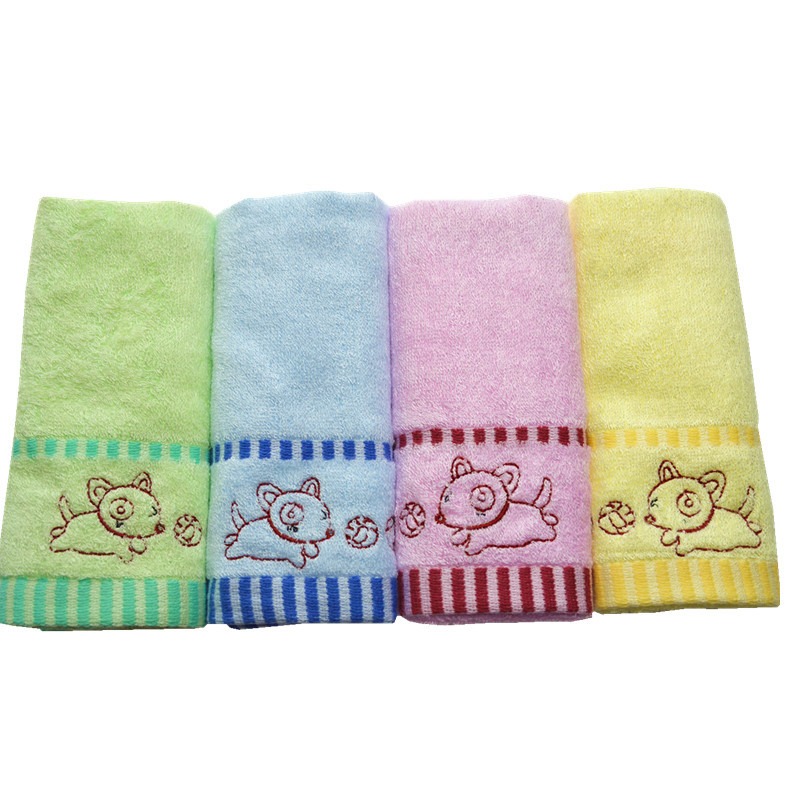 Kids Small Bamboo Fiber Beach Towel With Cute Embroidery Logo