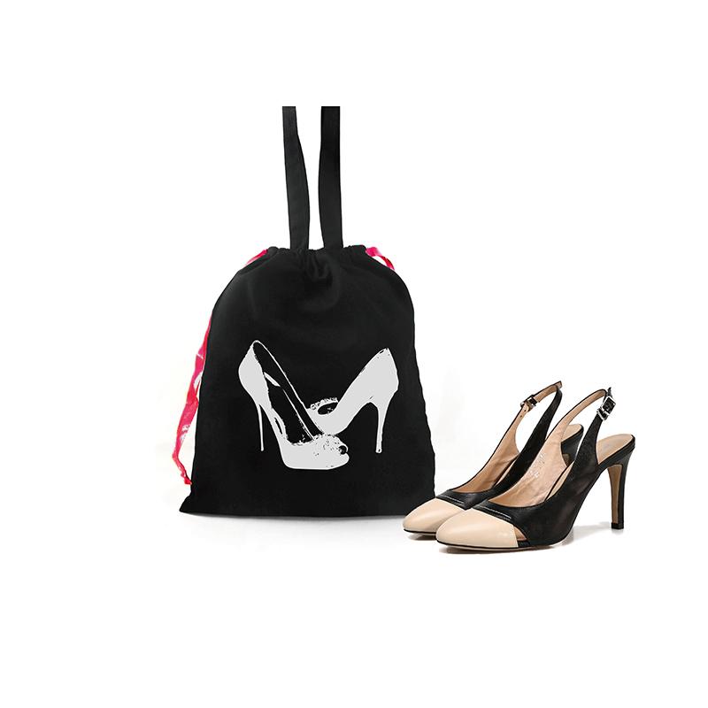 Custom high-heeled shoes cotton drawstring bag printed shoe pattern tote dust bag