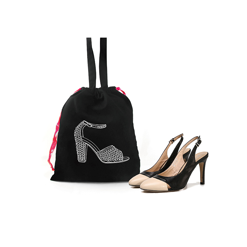 Custom high-heeled shoes cotton drawstring bag printed shoe pattern tote dust bag