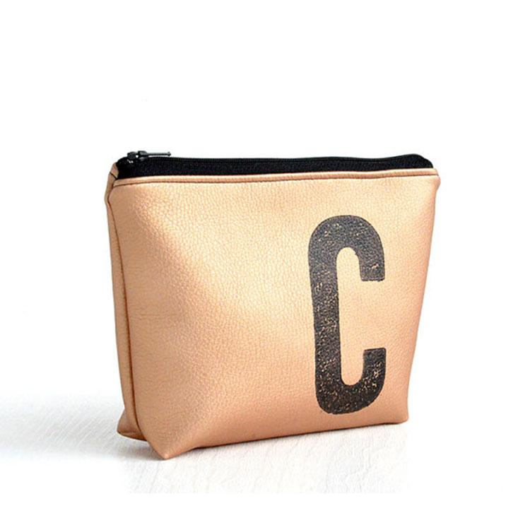 Rose gold PU leather make up zipper organizer bag gift brush packing bag printed logo