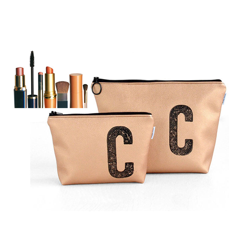 Rose gold PU leather make up zipper organizer bag gift brush packing bag printed logo